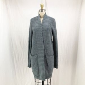 INHABIT Blue 100% Cashmere Snap Front Cardigan